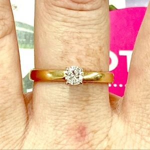 3/8CT Round Brilliant Solitaire 14K Yellow Gold